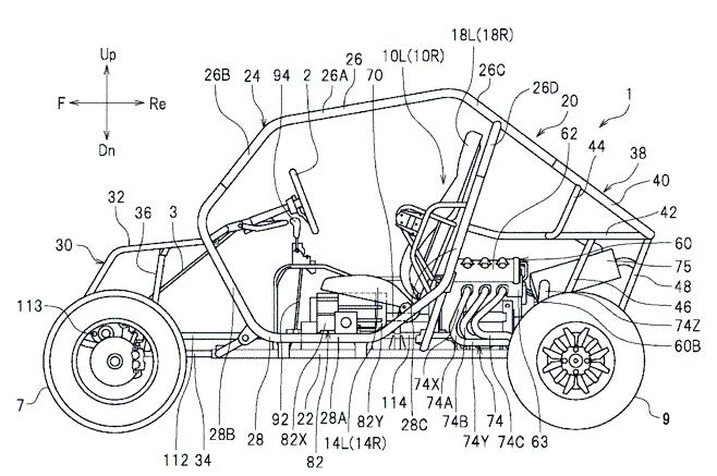 Strichzeichnung der Yamaha YXZ 1000R. In der Mitte befindet sich der Gangwahlhebel für das Fünfganggetriebe. Yamaha ist der erste Hersteller, der in einem Side-by-Side ein manuelles Getriebe verbaut.